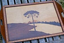 Wooden Serving Tray Marketry Wooden Inlaid Tree Landscape Design/ Pattern