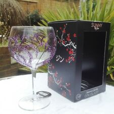 Sunny By Sue Hand Painted Gin & Tonic Large Purple Branch Balloon Glass Boxed 16