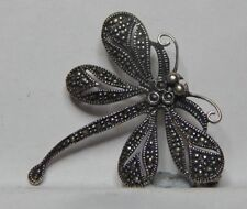 Vintage Sterling Silver Marcasite Dragonfly Brooch 925 Silver 4cm.