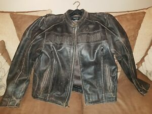 Mens Genuine Harley Davidson Authentic Leather Jacket Riding Gear Size XL