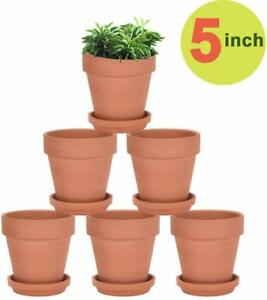 Vensovo Terra Cotta Pots With Saucer - 6 Pack 5 Inch Clay Pot Ceramic Pottery Pl