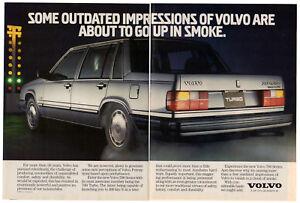 1985 VOLVO 760 Turbo Vintage Original 2 page Print AD - Silver car photo Canada