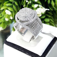 Luxury 925 Silver Round White Sapphire Birthstone Women Wedding Engagement Ring
