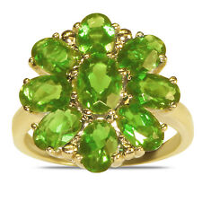 Beautiful Women's Peridot Flower Fashion Ring in 10k Yellow Gold for Women