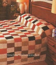 KNITTING PATTERN FOR PATCHWORK EFFECT BEDSPREAD / BLANKET EASY TO KNIT IN PANELS