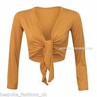 Women's Long Sleeve Tie up Ladies Bolero Shrug Cardigan Top Plus Size 8-22
