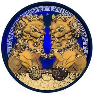 Australia 2020 1$ - Guardian Lions Pixiu - Space Blue & Gilded 1 Oz Silver Coin