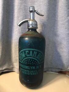 """Vintage """"Home Beverage Distributors"""" 26 Oz. Seltzer Bottle - Light Blue"""