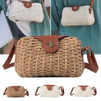 Women Rattan Straw Weave Shoulder Bag Crossbody Handbag Beach Hand Woven