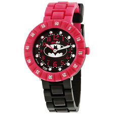 Swatch Flik Flak Batgirl Black Dial Pink and Black Girls Watch ZFFLP004