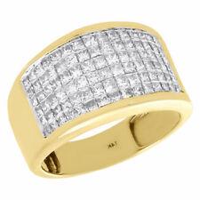 14K Yellow Gold Princess Cut Diamond Wedding Band 13mm Invisible Set Ring 2 Ct.