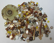 Brown Assorted Bead Mix with Shells, Feature Beads, Agate Pendant, Glass, Pearls