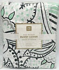 Pottery Barn PB Teen Ana Paisley full queen duvet cover black mint green NEW NIP