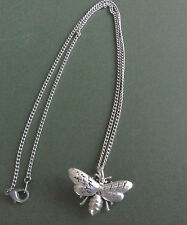 pewter pendant, bee design, hand made in Cornwall with surgical steel chain
