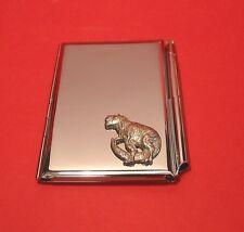 Dinosaur Pewter Motif on Chrome Notebook / Card Holder & Pen Christmas Gift