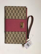 NWT Michael Kors Center Stripe JSTV Small Zip Wristlet Clutch Bag Pink
