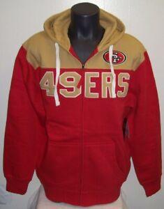 SAN FRANCISCO 49ERS Full Zip  Color Hoody Screened Lettering Sewn Logo S, M, 2X