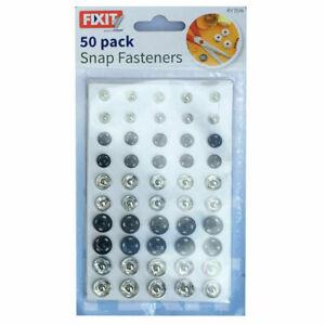 50 Snap Fasteners Poppers Press Studs Sew On Nylon Fastners Random Size UK