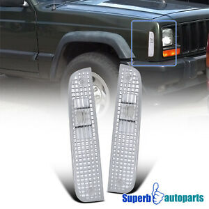For 1997-2001 Jeep 97-01 Cherokee Corner Lamps Signal Lights Pair Replacement