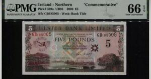 Scarce Genuine 2006 Northern Ireland 5 Pounds George Best Banknote PMG66 Gem UNC