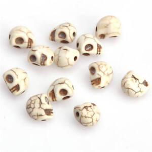 lot de 10 perles tete de mort 10 mm en howlite