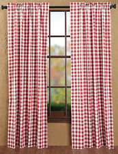 Drapery Panel Pair Dark Red Off White Gingham Buffalo Check Window Treatment
