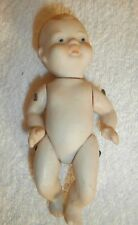 "Vtg Bisque 5"" Baby porcelain face/hair hand painted. Arms/legs move Japan"
