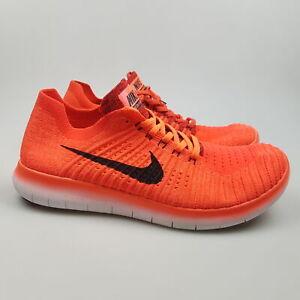 Men's NIKE 'Free RN Flyknit' Sz 8 US Runners Orange Near New   3+ Extra 10% Off