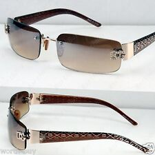 New DG Eyewear Rectangular Womens Sunglasses Shades Gold Brown Designer Rimless