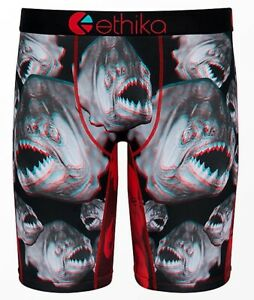 Ethika Staple Nah Bruh Snarling Piranhas 3D Mens Brief Underwear sz L 33-35 NEW