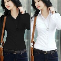 Women's Short/Long Sleeve Lapel Collar T Shirt Button Down Blouse Top OL Shirts