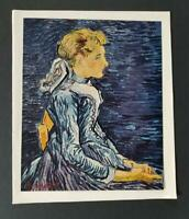 """Van Gogh """"Mademoiselle Ravoux"""" Mounted Offset Color Lithograph 1950 Platesigned"""