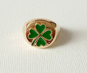 Gold Four Leaf Clover Sovereign Ring 90s L& N & P Medium Other Bloggers Stories