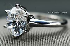 RING REAL 14K WHITE GOLD SOLITAIRE ENGAGEMENT 3 CT  ROUND CUT  ANNIVERSARY NEW