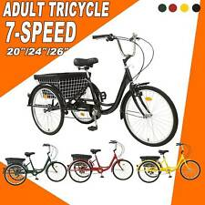 """26""""/24""""/20"""" 7 Speed Adult Trike Tricycle 3 Wheel Bike w/Basket for Shopping NEW"""