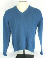 Vtg Pringle Mens 42 L Blue V Neck 100% Lambswool Sweater Made In Scotland L/S