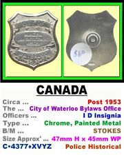 Obsolete Badge • Canada-ON • Waterloo Bylaws Officer • Post 1953 • C•4377•XVYZ