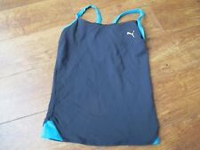 New PUMA Workout Vest  Top - BLUE Ladies Womens, Gym BRA SUPPORT Fitness 10