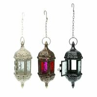 1/2/4x Moroccan Hanging Glass Lantern Tea Light Candle Holder Wedding Home Decor