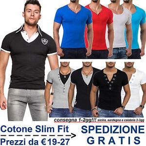 Maglietta da Uomo Slim Fit T-Shirt a Maniche Corte Maglia Aderente Moda Casual