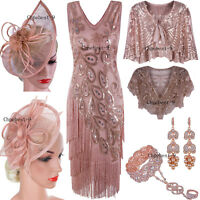 b9599c8084b Rose Gold 1920s Dress Flapper Costumes Vintage Fringe Dress Peacock Evening  Gown