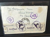 Italy Roma Ferrovia Geoffnet tape german censor stamps cover  Ref R28420