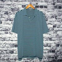 Peter Millar Summer Comfort Men's Short Sleeve Golf Polo Shirt Blue Striped XL