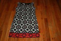 LONDON TIMES WOMEN'S BLACK & WHITE & RED FLORAL SLEEVELESS  Dress SIZE 4
