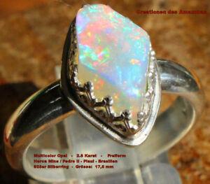 Hot Multicolor Opal 2.8 Karat 925er Silberring Größe 17,8 mm