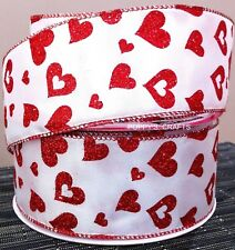 2 YARDS - 63mm WIDE - WHITE with RED GLITTER HEARTS WIRE EDGED CRAFT RIBBON