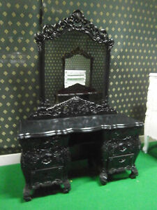 Gothic Black Rococo Dressing table oriental french style bevelled edge mirror