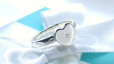 Tiffany & Co. Modern Heart Diamond Band Ring Size 9 Sterling Silver 925 AG NEW