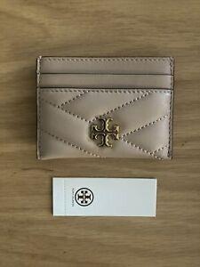 NWT TORY BURCH Kira Chevron Card Case Logo Wallet Pouch Quilt Devon Sand OBO
