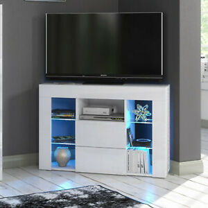 Modern White Matt Corner TV Unit Stand Cabinet Blue LED Lights 2Drawer Sideboard